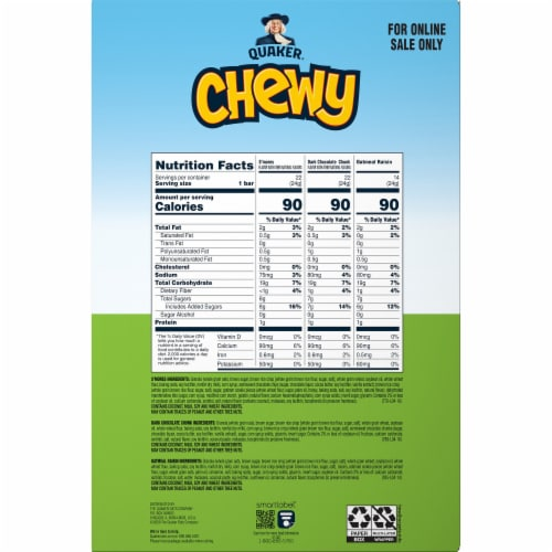 Quaker® Chewy Granola Bars Variety Pack Perspective: back