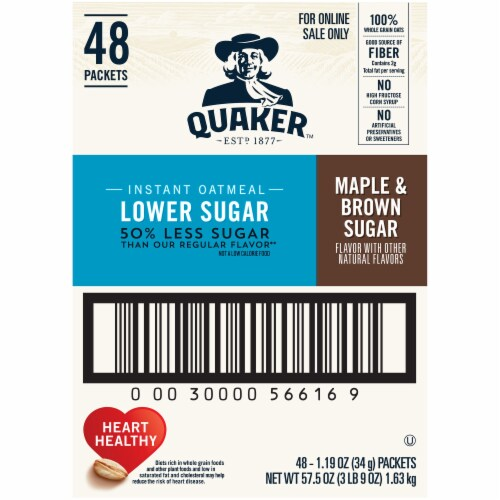 Quaker Lower Sugar Maple & Brown Sugar Instant Oatmeal Packets Perspective: back