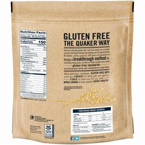 Quaker Gluten Free Old Fashioned Oats Perspective: back