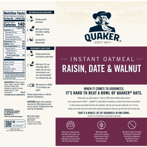 Quaker Raisin Date & Walnut Instant Oatmeal Packets Perspective: back