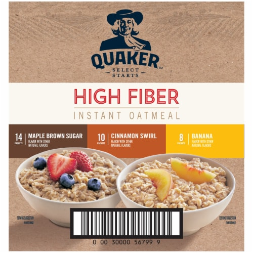 Quaker Select Starts High Fiber Instant Oatmeal Variety Pack 32 Count Perspective: back