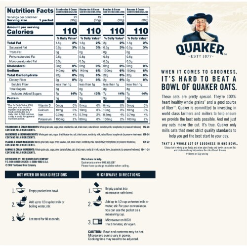 Quaker Fruit & Cream Instant Oatmeal Variety Pack 48 Count Perspective: back