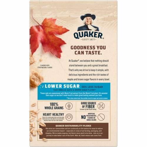 Quaker® Lower Sugar Maple & Brown Sugar Instant Oatmeal Perspective: back