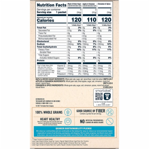 Quaker Lower Sugar Instant Oatmeal Variety Pack Perspective: back