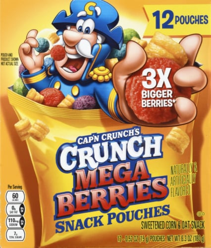 Cap'N Crunch's Crunch Mega Berries Sweetened Corn & Oat Snack Pouches Perspective: back