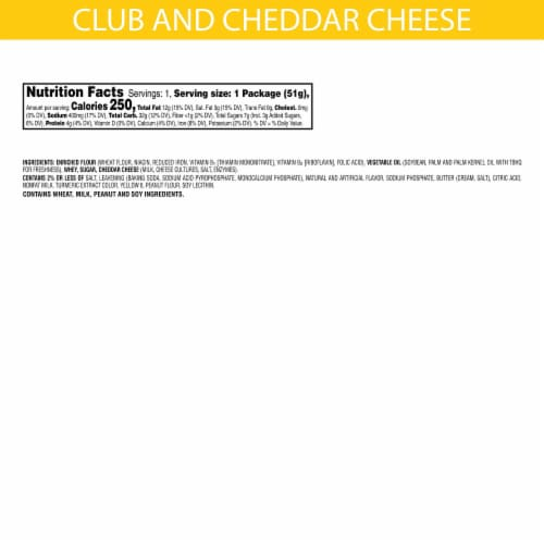 Keebler Club & Cheddar Sandwich Crackers Snack Pack Perspective: back