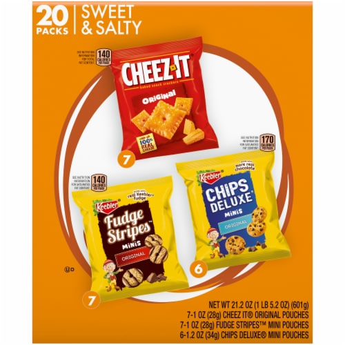 Keebler Mini Chips Deluxe Cheez-It Mini Fudge Stripe Variety Pack Perspective: back