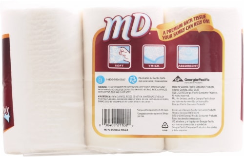 MD 2 Ply Unscented Bathroom Tissue 12 Count Perspective: back
