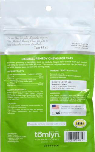 Tomlyn Laxatone Hairball Remedy Chicken Flavor with Omega 3 & 6 Chews for Cats Perspective: back