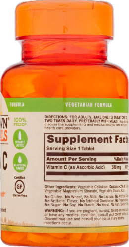 Sundown Naturals Vitamin C Tablets 500mg Perspective: back