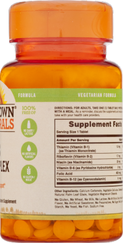 Sundown Naturals B Complex Energy Support Tablets Perspective: back