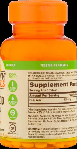 Sundown Naturals Folic Acid 800 mg Tablets Perspective: back