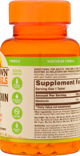 Sundown Naturals Melatonin Tablets 5 mg Perspective: back
