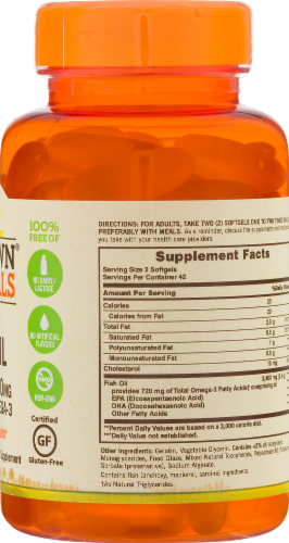 Sundown Naturals Odor-Less Fish Oil 1200 mg Coated Softgels Perspective: back