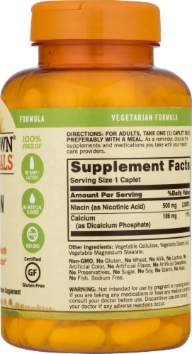 Sundown Naturals Niacin 500 mg Time Release Caplets Perspective: back