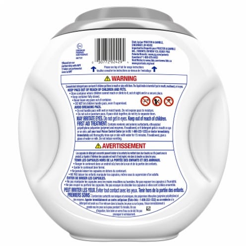 Tide Hygienic Clean Power Pods Scent Free Laundry Detergent Pacs Perspective: back