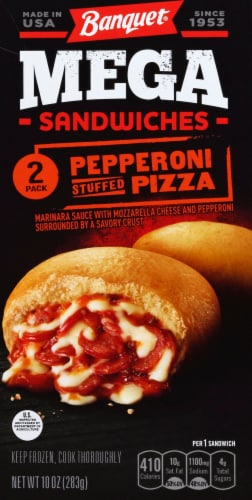 Banquet Mega Sandwiches Pepperoni Stuffed Pizza Perspective: back