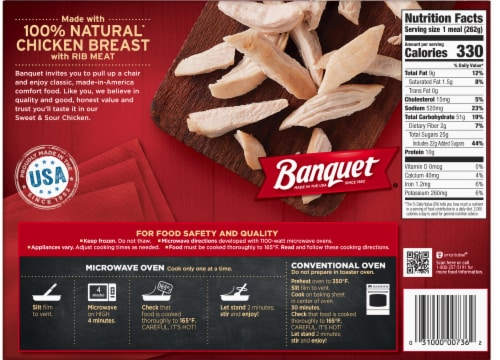 Banquet Sweet & Sour Chicken Frozen Meal Perspective: back