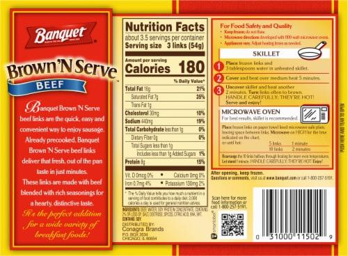 Banquet Brown'N Serve Beef Sausage Links Perspective: back