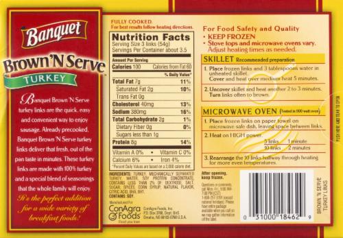 Banquet Brown'N Serve Turkey Sausage Links Perspective: back