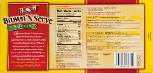 Banquet Brown 'N Serve Turkey Sausage Patties Perspective: back