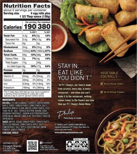 P.F. Chang's Home Menu Vegetable Mini Egg Rolls Perspective: back