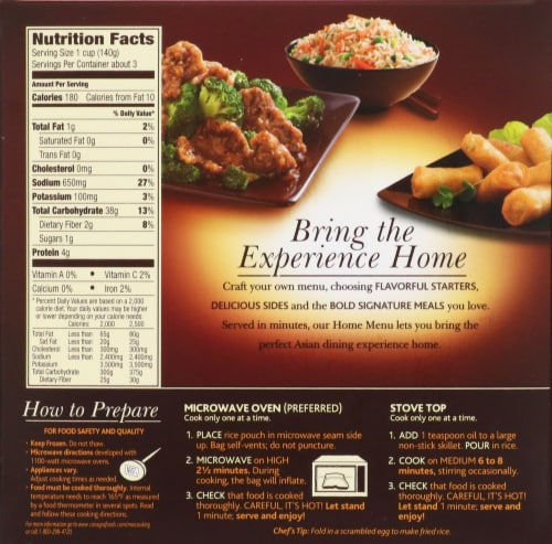 P.F Chang's Home Menu Chang's Signature Rice Perspective: back
