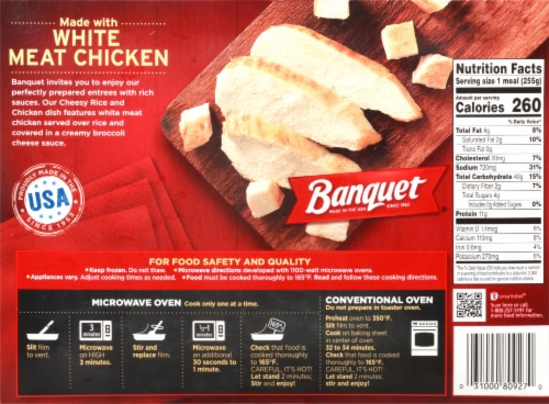 Banquet Cheesy Rice & Chicken Perspective: back