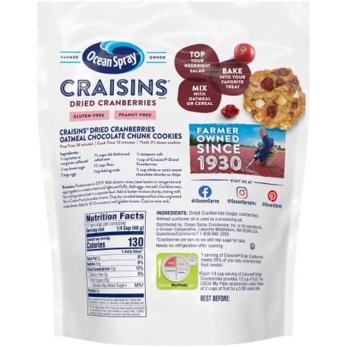 Ocean Spray Original Craisins Dried Cranberries Perspective: back