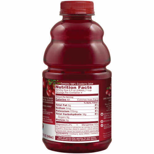 Ocean Spray Unsweetened Pure Cranberry Juice Perspective: back