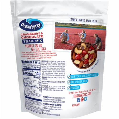 Ocean Spray Craisins Cranberry & Chocolate Trail Mix Perspective: back
