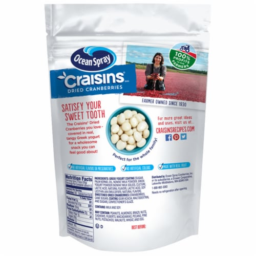Ocean Spray Craisins Greek Yogurt Covered Sweetened Dried Cranberries Perspective: back