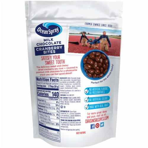 Ocean Spray Craisins Milk Chocolate Covered Sweetened Dried Cranberries Perspective: back