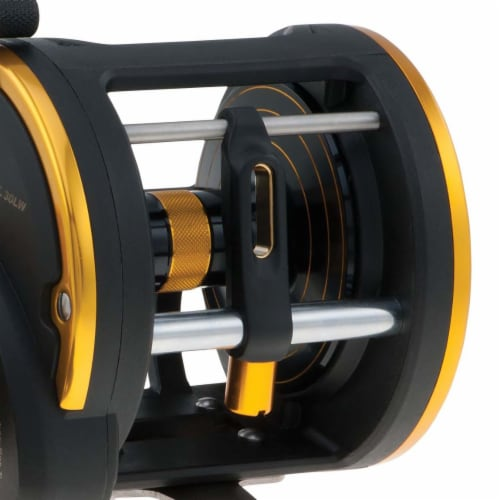 Penn SQL50LW Squall Levelwind Saltwater Fish Trolling Fishing Reel, Black & Gold Perspective: back