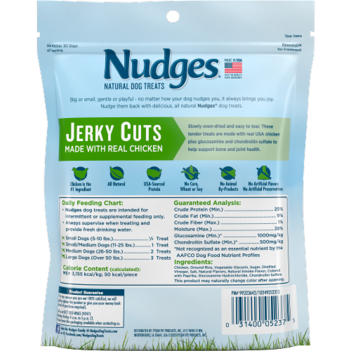 Nudges Real Chicken Jerky Cuts Dog Treats Perspective: back
