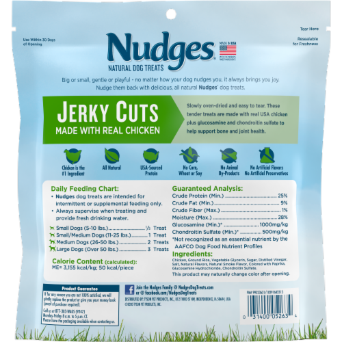 Nudges Natural Jerky Cuts with Real Chicken Adult Dog Treats Perspective: back