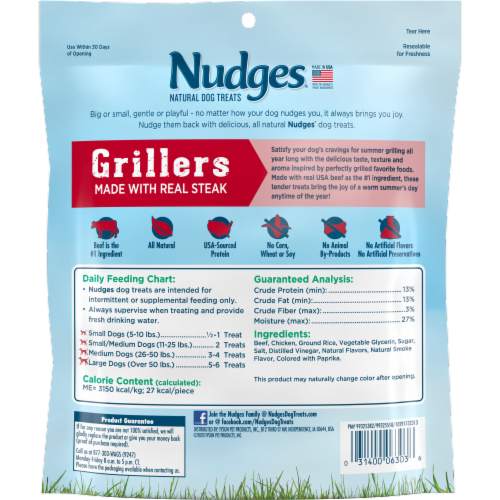 Nudges® Grillers Real Beef Natural Dog Treats Perspective: back