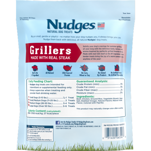 Nudges Steak Grillers Natural Dog Treats Perspective: back