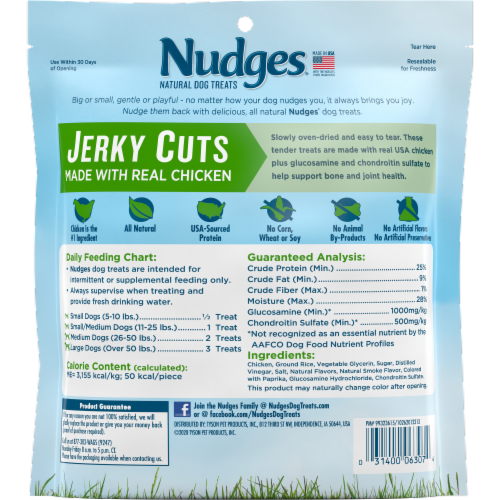 Nudges Natural Jerky Cuts Chicken Dog Treats Perspective: back