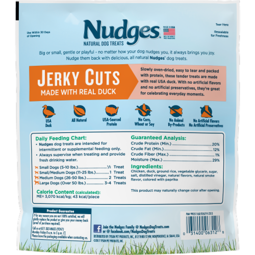 Nudges Jerky Cuts Natural Duck Dog Treats Perspective: back