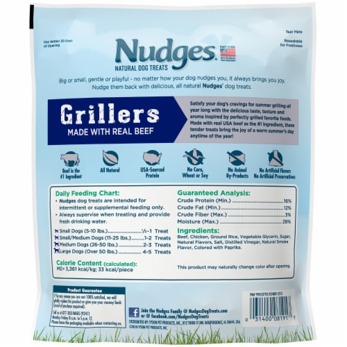 Nudges Grillers Real Beef Natural Dog Treats Perspective: back