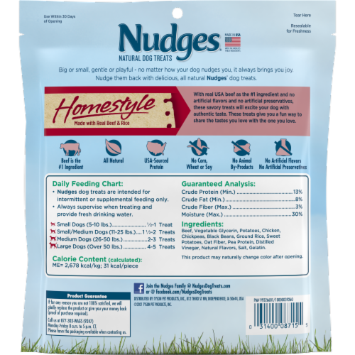 Nudges Homestyle Beef & Rice Natural Dog Treats Perspective: back