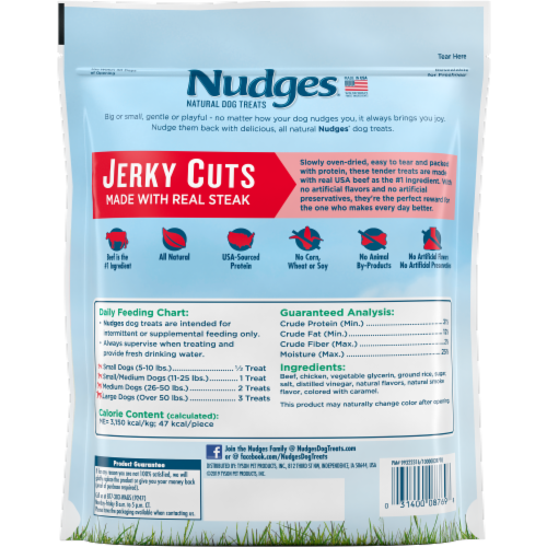 Nudges Jerky Cuts Natural Beef Dog Treats Perspective: back