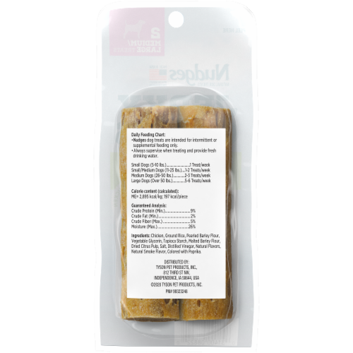 Nudges Natural Chicken Medium/Large Jerky Chews Dog Treats Perspective: back