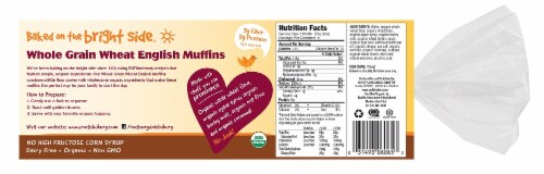 Rudi's Organic Bakery Whole Grain Wheat English Muffins 6 Count Perspective: back