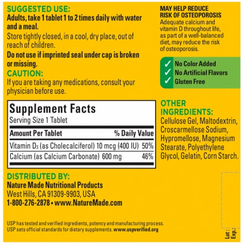 Nature Made® Calcium with Vitamin D3 600mg Tablets Perspective: back