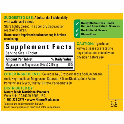Nature Made Magnesium Tablets 250mg 100 Count Perspective: back
