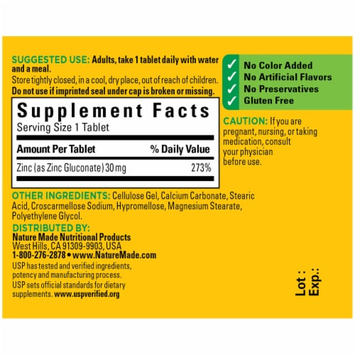 Nature Made® Zinc 30mg Tablets Perspective: back