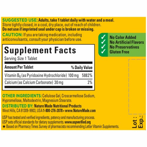 Nature Made® Vitamin B6 Dietary Supplement 100mg Tablets Perspective: back