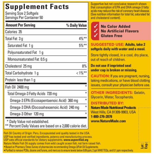 Nature Made Fish Oil Omega-3 Softgels 1200mg Perspective: back